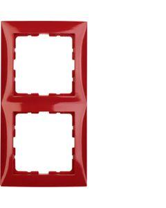 Ramka podwójna czerwony połysk BERKER B.KWADRAT