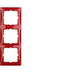 Ramka potrójna czerwony połysk BERKER B.KWADRAT